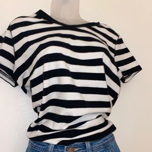 Size large v-neck striped baby tee.